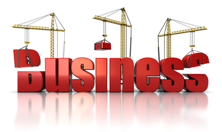 3d illustration of three cranes building text 'business', over white background